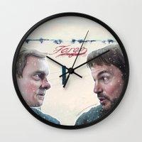 fargo Wall Clocks featuring Fargo tv serie by Magdalena Almero