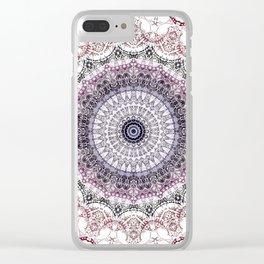 Bohemian White Detailed Mandala Design Clear iPhone Case