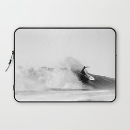 Surfer, Big Wave, Beach Wall Art, Black and White Photograph Laptop Sleeve