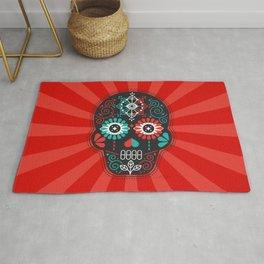 Día de Muertos Calavera • Mexican Sugar Skull – Black & Turquoise on Red Starburst Rug