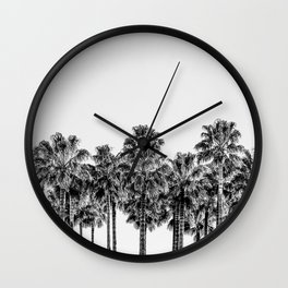 California Beach Vibes // Black and White Palm Trees Monotone Travel Photograph Wall Clock