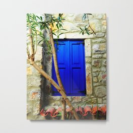 blue window in bodrum Metal Print