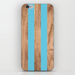 Wood Grain Stripes Light Blue #807 iPhone Skin