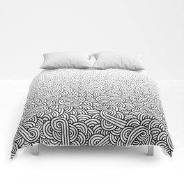 Gradient black and white swirls doodles Comforters