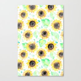 Cheerful Watercolor Sunflowers Canvas Print