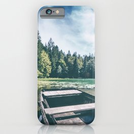Wonderful weathered boat on riverbank of small altitude french Genin lake iPhone Case