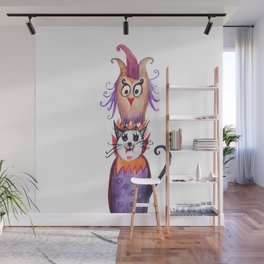 Owl and Cat Halloween Friends Wall Mural