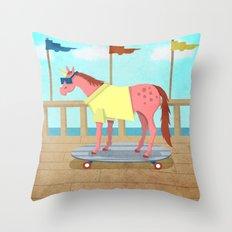 Summer Stroll Unicorn Throw Pillow