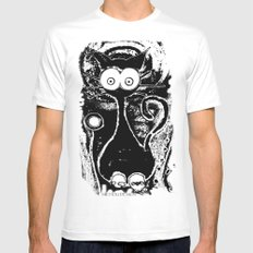 Psychedelic Cat Mens Fitted Tee MEDIUM White