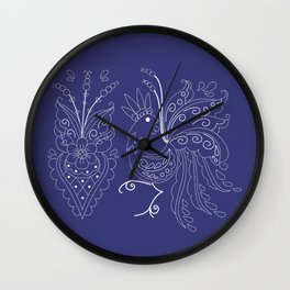 Folklore Rooster - Swedish Folk Art Wall Clock