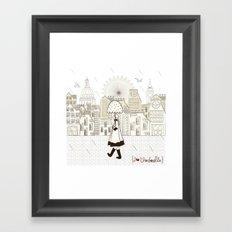 I {❤} Umbrella Framed Art Print
