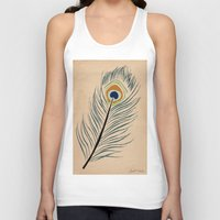 peacock feather Tank Tops featuring PEACOCK FEATHER by Joelle Poulos