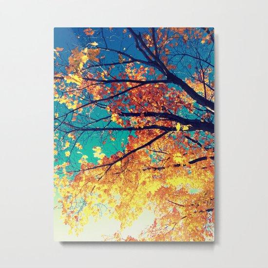 AutuMN Golden Leaves Teal Sky Metal Print