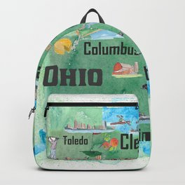 USA Ohio State Illustrated Travel Poster Map with Touristic Highlights Backpack