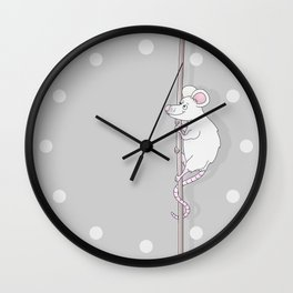 Cute Grey Cartoon Mouse Wall Clock
