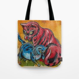 Blue and Red Cats Tote Bag