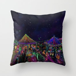 Magical Night Market Throw Pillow
