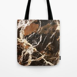 Sienna Brown and Black Marble With Creamy Veins Tote Bag