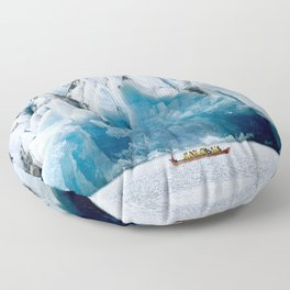 Ride to the Alaskan Glacier Floor Pillow