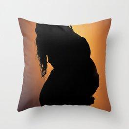 Pregnant Profile Throw Pillow