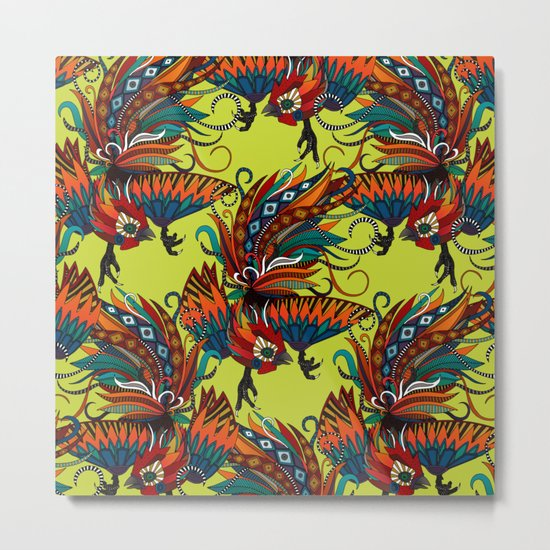 rooster ink chartreuse Metal Print