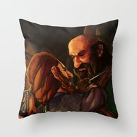 nori Throw Pillows featuring Axes and Knives by Hattie Hedgehog