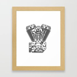Vintage motorcycle engine in design fashion modern monochrome style illustration Framed Art Print