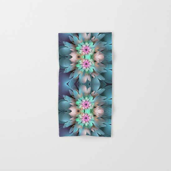 Soft coloured Twin Flowers Hand & Bath Towel