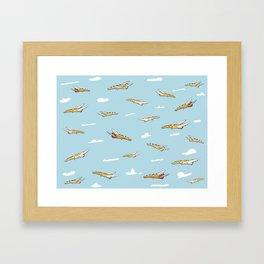 Flying Pizza Framed Art Print
