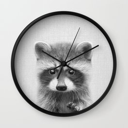 Raccoon - Black & White Wall Clock