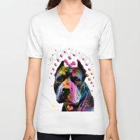 pitbull V-neck T-shirts featuring pitbull  by mark ashkenazi