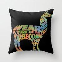 lama Throw Pillows featuring Lama by Julia Lake Art Designs