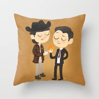 dale cooper Throw Pillows featuring Truman & Cooper by Vera van Groos