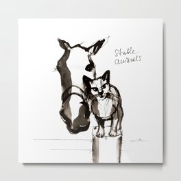 Horse and Cat (Stable animals) Metal Print
