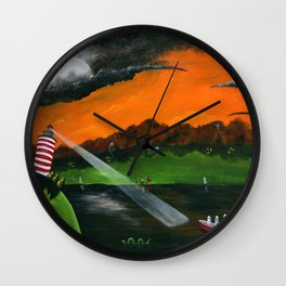 Hilly Haunted Lighthouse Wall Clock
