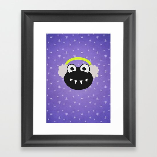 Purple Cute Cartoon Bug With Earflaps In Winter Framed Art Print