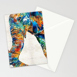 Colorful Elephant Art by Sharon Cummings Stationery Cards