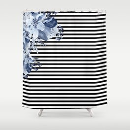 Blue Boho Flowers and Stripes Shower Curtain