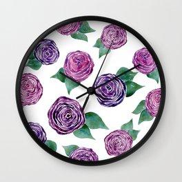 Purple Rosettes Wall Clock