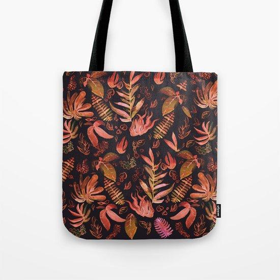 brown watercolor leaves Tote Bag