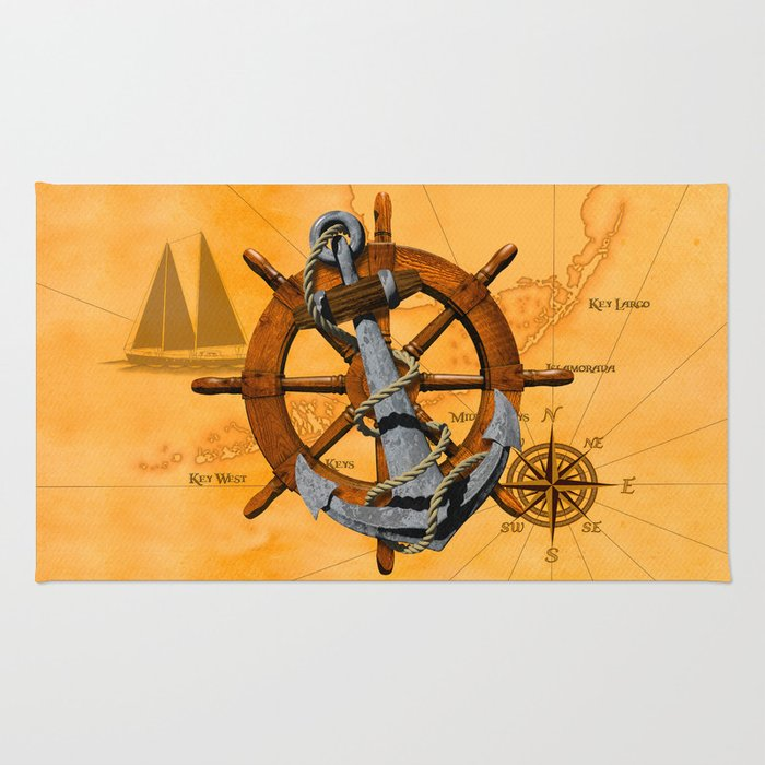 Nautical Ships Wheel And Anchor Rug