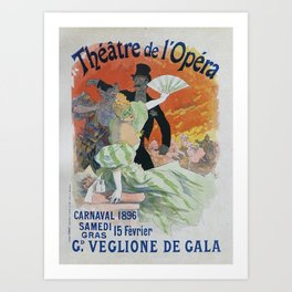 Carnaval, 1896 French Vintage Opera Poster Jules Cheret Art Print