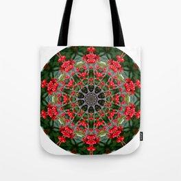 Winterberry holly, Ilex verticillata, mandala/kaleidoscope. Tote Bag