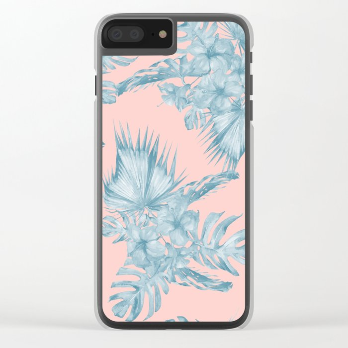 Dreaming of Hawaii Pale Teal Blue on Millennial Pink Clear iPhone Case