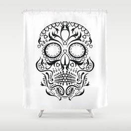 Day of the Dead Skull - Hearts Shower Curtain