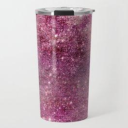Modern chic faux glitter girly purple pattern Travel Mug