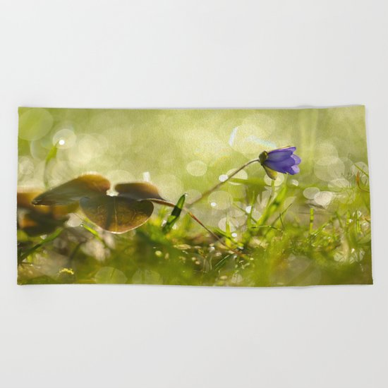 Beautiful spring - first flower little anemone with beautiful bokeh in green background Beach Towel