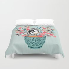 Tea and Flowers - Black and White Warbler by Andrea Lauren Duvet Cover