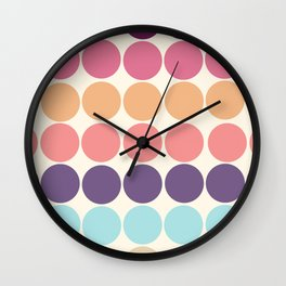 Classic Freehand Vintage Style Retro Dots Wall Clock