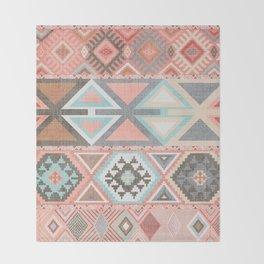 Aztec Artisan Tribal in Pink Throw Blanket
